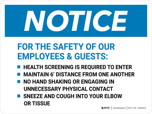 Notice: Employees & Guests Precautions Landscape - Wall Sign