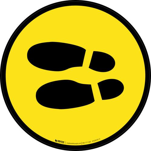 Shoe Print Left Yellow Circular v2 - Floor Sign