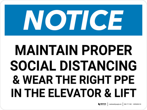 Notice: Social Distancing & PPE In Elevator Landscape - Wall Sign