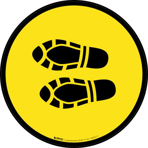 Shoe Print Left Yellow Circular - Floor Sign
