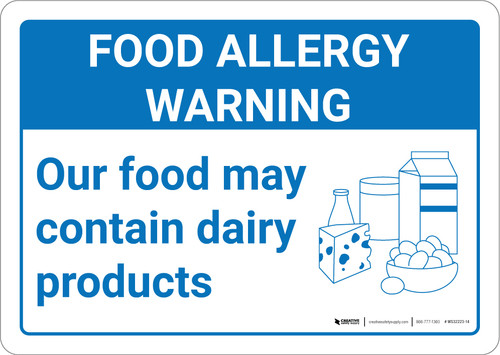 Warning: Food Allergy Warning Food May Contain Dairy with Icon Landscape - Wall Sign