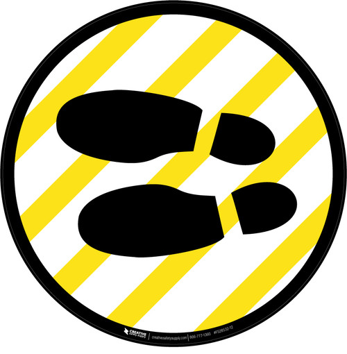 Shoe Print Left Yellow and White Circular v2 - Floor Sign