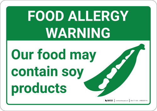 Warning: Food Allergy Warning Food May Contain Soy with Icon Landscape - Wall Sign