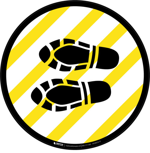 Shoe Print Left Yellow and White Circular  - Floor Sign