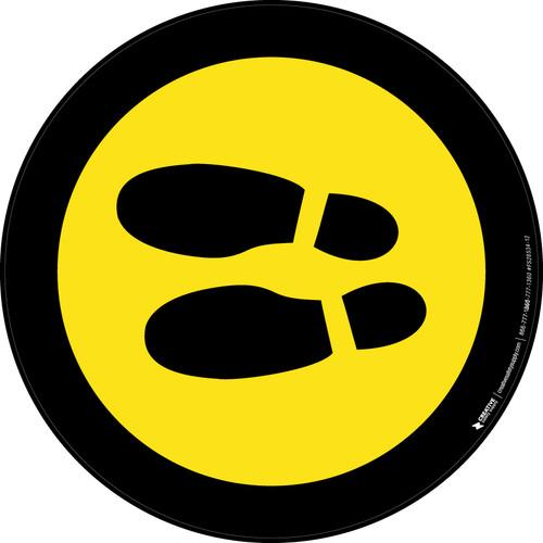 Shoe Print Left Yellow with Black Border Circular v2 - Floor Sign