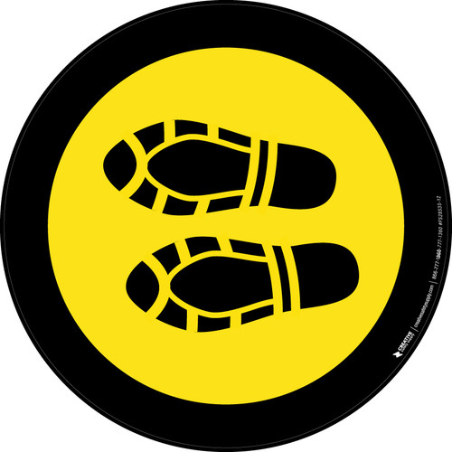 Shoe Print Left Yellow with Black Border Circular - Floor Sign