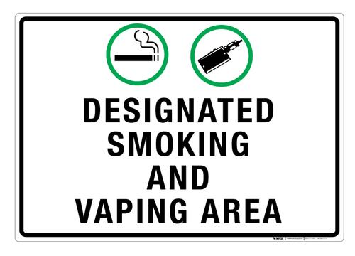 Designated Smoking and Vaping Area - Wall Sign