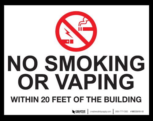 No Smoking/Vaping Within 20 Feet - Wall Sign
