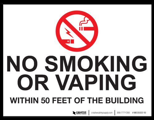 No Smoking/Vaping Within 50 Feet - Wall Sign