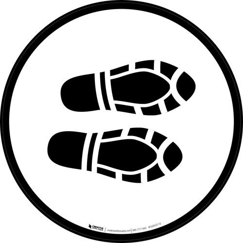 Shoe Print Right Black Circular - Floor Sign