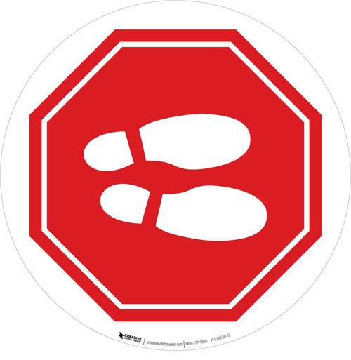 Shoe Print Right Stop Circular v2 - Floor Sign