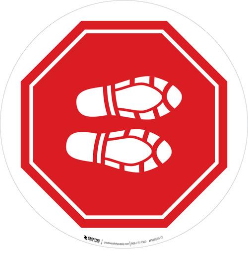Shoe Print Right Stop Circular - Floor Sign
