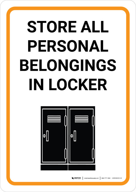 Store All Personal Belongings In Locker with Icon Portrait - Wall Sign