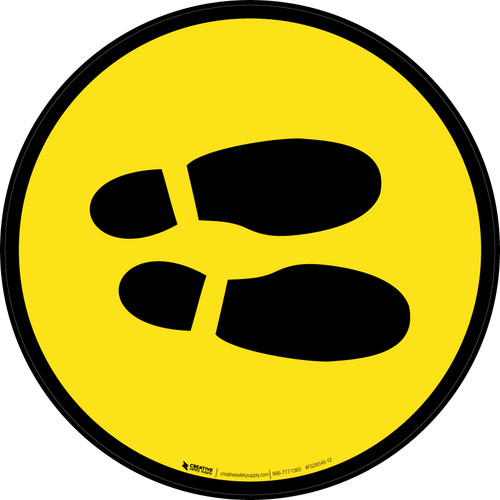 Shoe Print Right Yellow Circular v2 - Floor Sign