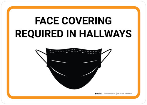 Face Covering Required In Hallways with Icon Landscape - Wall Sign