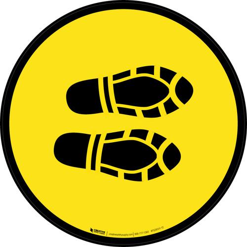 Shoe Print Right Yellow Circular - Floor Sign