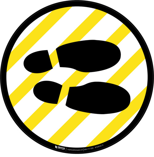 Shoe Print Right Yellow and White Circular v2 - Floor Sign
