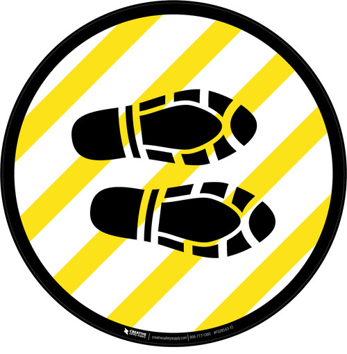 Shoe Print Right Yellow and White Circular  - Floor Sign