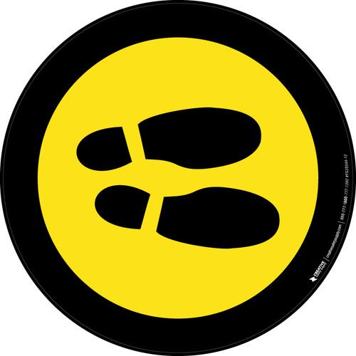 Shoe Print Right Yellow with Black Border Circular v2 - Floor Sign