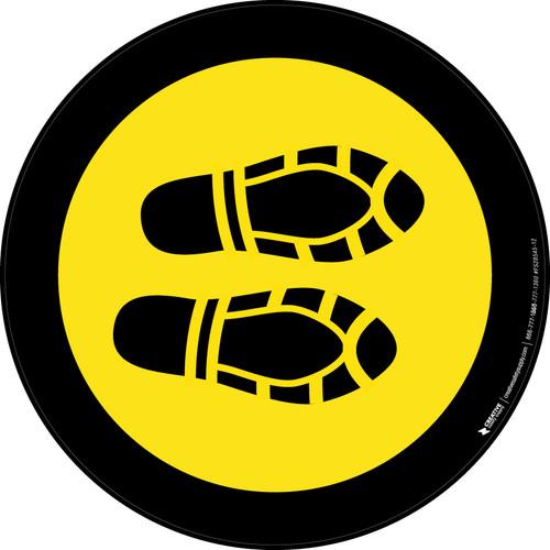 Shoe Print Right Yellow with Black Border Circular - Floor Sign