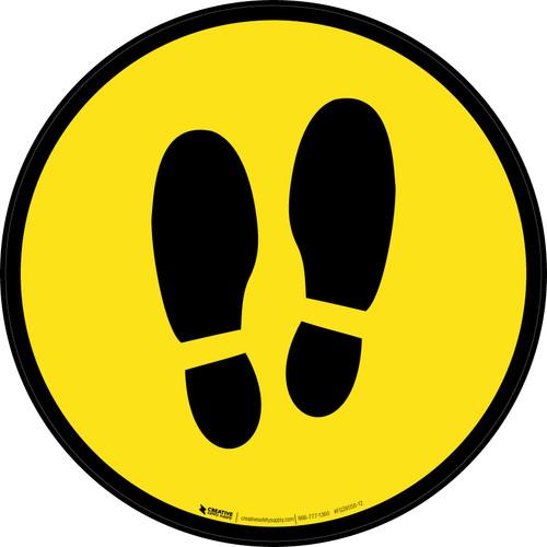 Shoe Print Up Yellow Circular v2 - Floor Sign
