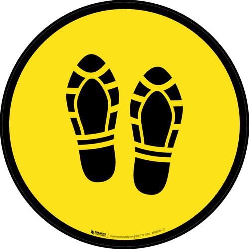 Shoe Print Up Yellow Circular - Floor Sign