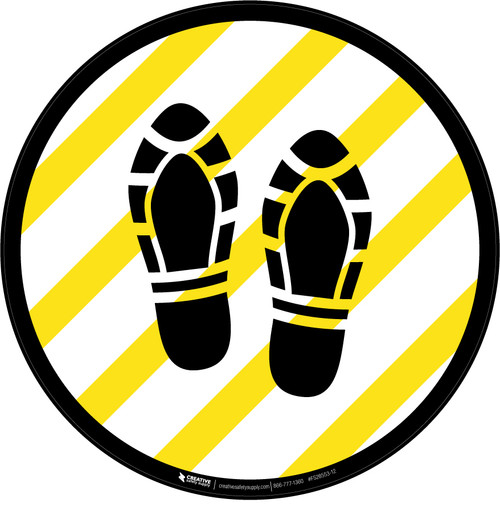 Shoe Print Up Yellow and White Circular  - Floor Sign