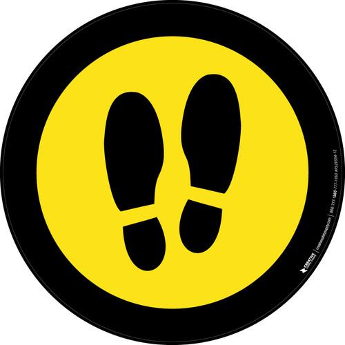 Shoe Print Up Yellow with Black Border Circular v2 - Floor Sign