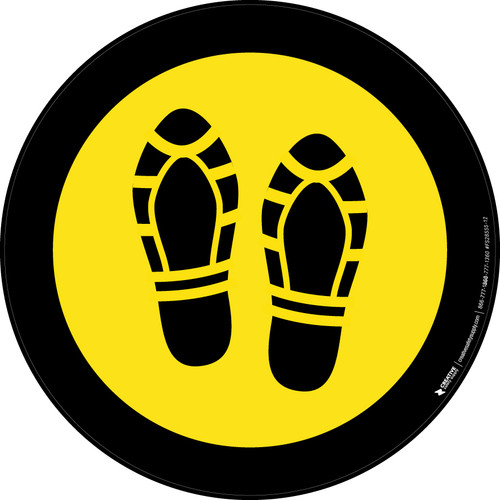 Shoe Print Up Yellow with Black Border Circular - Floor Sign