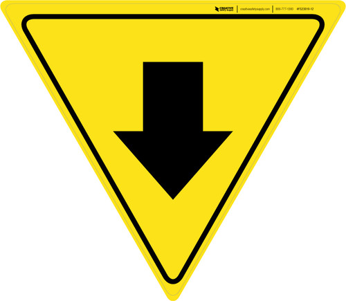 Down Arrow Yield - Floor Sign