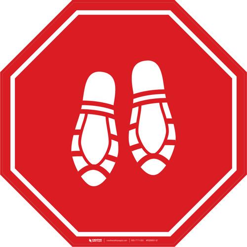 Shoe Print Down Red Stop - Floor Sign