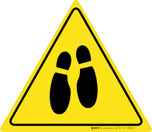 Shoe Print Down Triangle v2 - Floor Sign