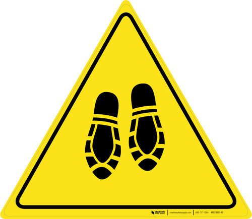 Shoe Print Down Triangle - Floor Sign
