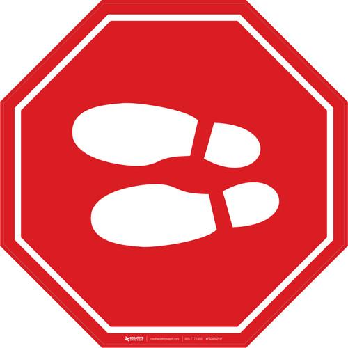 Shoe Print Left Red Stop v2 - Floor Sign