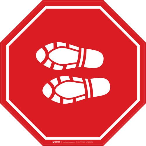 Shoe Print Left Red Stop - Floor Sign