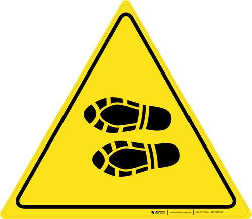 Shoe Print Left Triangle - Floor Sign