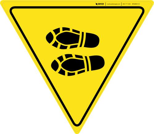 Shoe Print Left Yield - Floor Sign