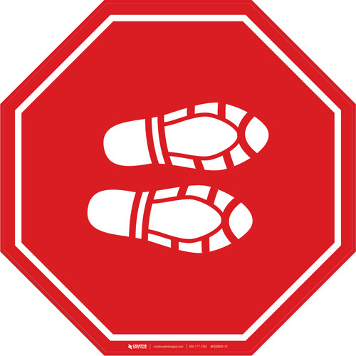 Shoe Print Right Red Stop - Floor Sign