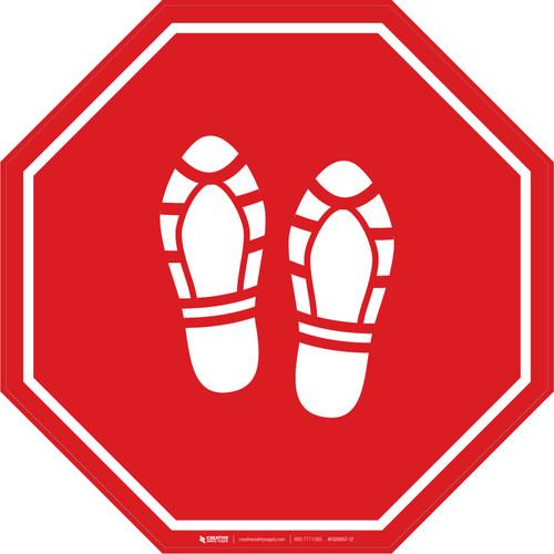 Shoe Print Up Red Stop - Floor Sign