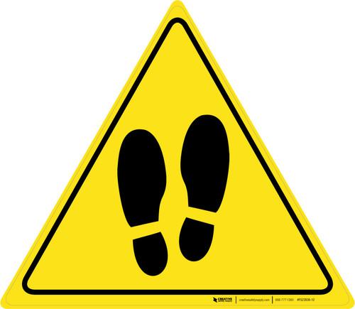 Shoe Print Up Triangle v2 - Floor Sign