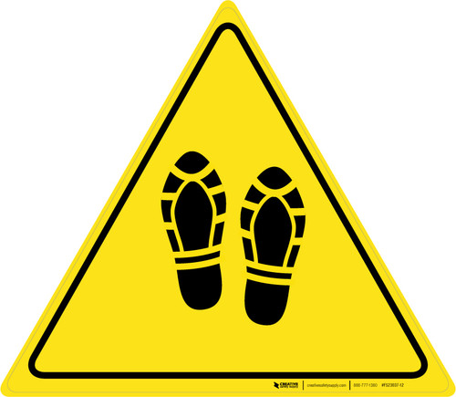 Shoe Print Up Triangle - Floor Sign