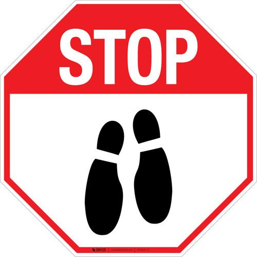 Stop Shoe Print Down v2 - Floor Sign