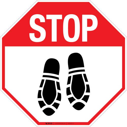 Stop Shoe Print Down - Floor Sign