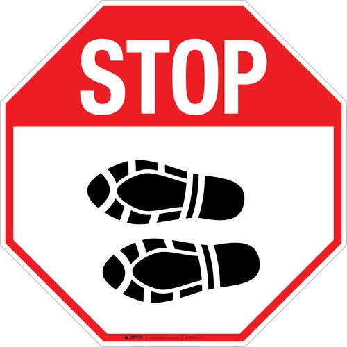 Stop Shoe Print Left - Floor Sign