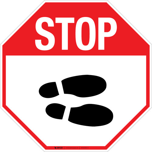 Stop Shoe Print Right v2 - Floor Sign