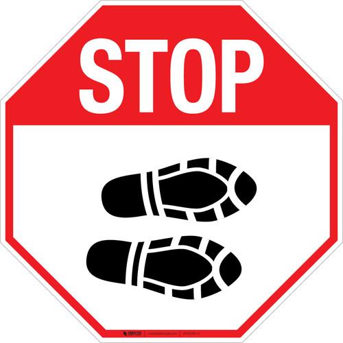 Stop Shoe Print Right - Floor Sign