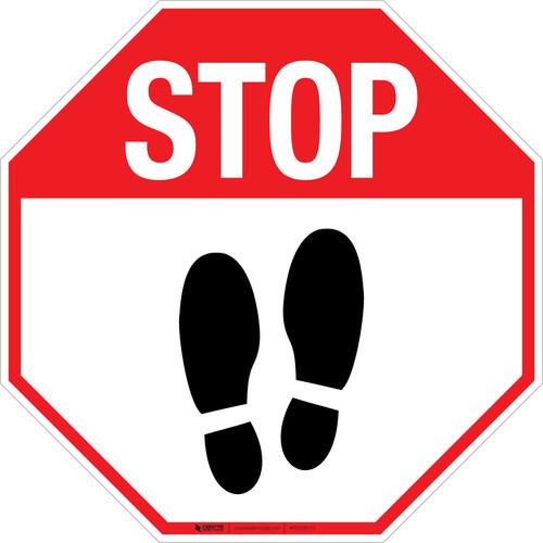 Stop Shoe Print Up v2 - Floor Sign