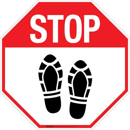 Stop Shoe Print Up - Floor Sign
