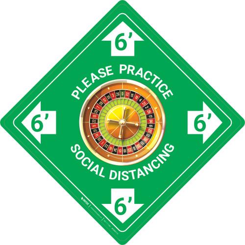 Please Practice Social Distancing - Roulette Emoji - Green - Floor Sign