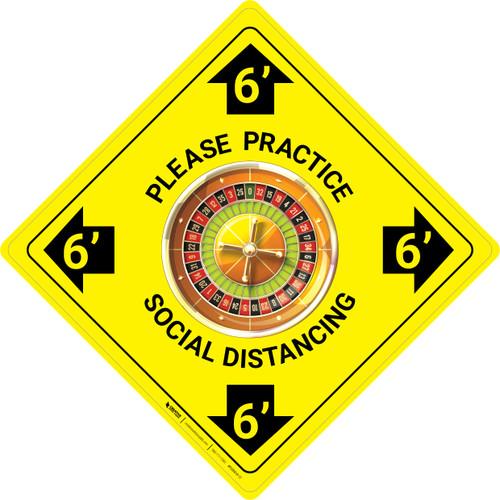 Please Practice Social Distancing - Roulette Emoji - Yellow - Floor Sign